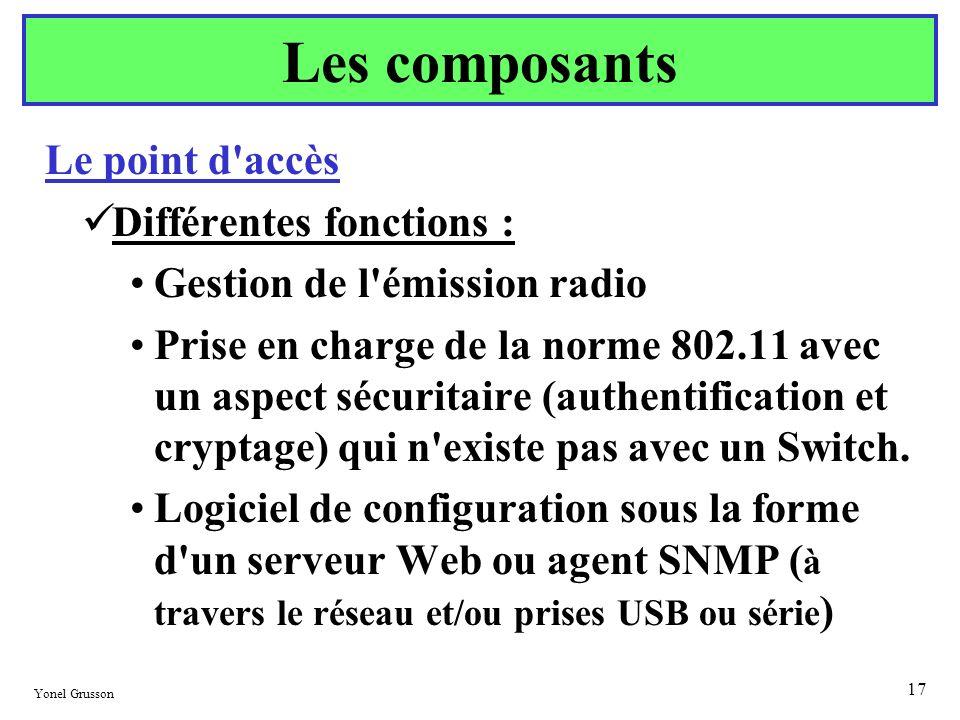 Yonel Grusson 17 Le point d'accès Différentes fonctions : Gestion de l'émission radio Prise en charge de la norme 802.11 avec un aspect sécuritaire (a