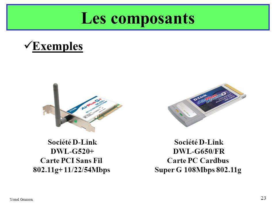 Yonel Grusson 23 Exemples Les composants Société D-Link DWL-G520+ Carte PCI Sans Fil 802.11g+ 11/22/54Mbps Société D-Link DWL-G650/FR Carte PC Cardbus
