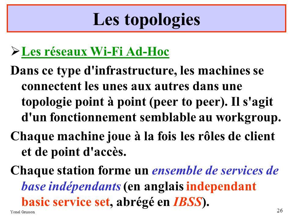 Yonel Grusson 26 Les topologies Les réseaux Wi-Fi Ad-Hoc Dans ce type d'infrastructure, les machines se connectent les unes aux autres dans une topolo