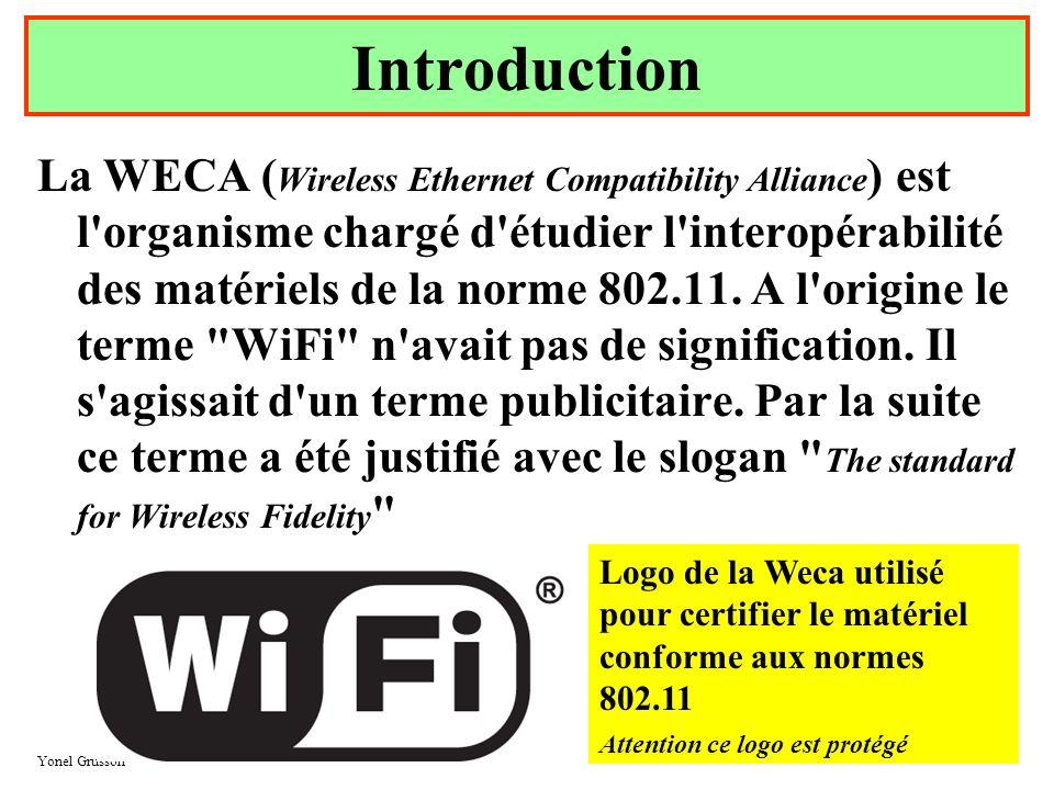 Yonel Grusson 3 La WECA ( Wireless Ethernet Compatibility Alliance ) est l'organisme chargé d'étudier l'interopérabilité des matériels de la norme 802