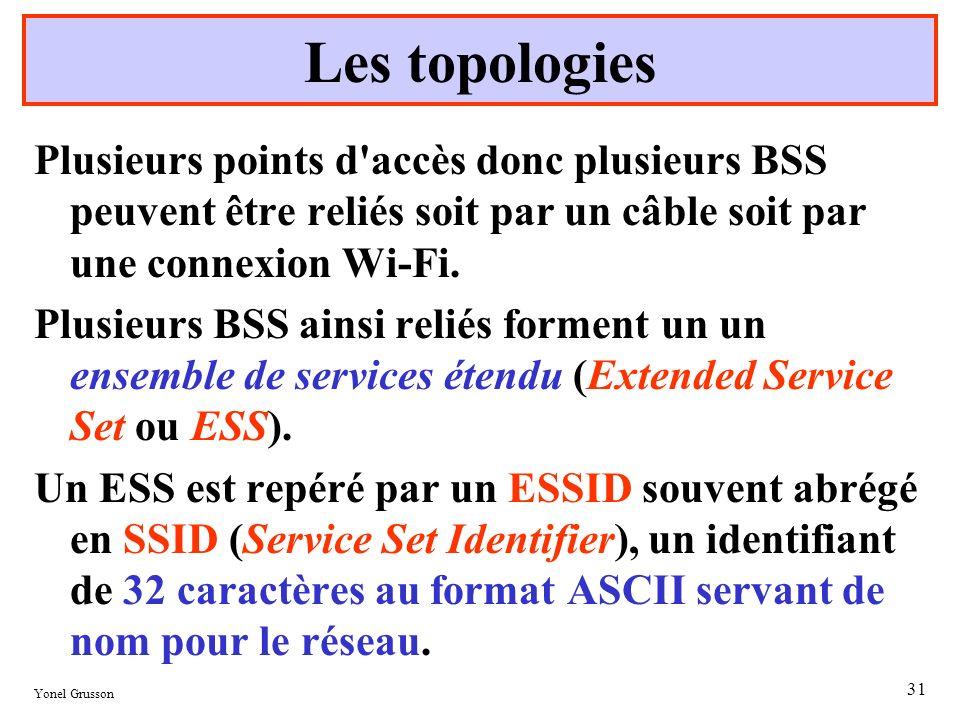 Yonel Grusson 31 Plusieurs points d'accès donc plusieurs BSS peuvent être reliés soit par un câble soit par une connexion Wi-Fi. Plusieurs BSS ainsi r