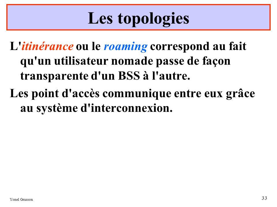 Yonel Grusson 33 L'itinérance ou le roaming correspond au fait qu'un utilisateur nomade passe de façon transparente d'un BSS à l'autre. Les point d'ac