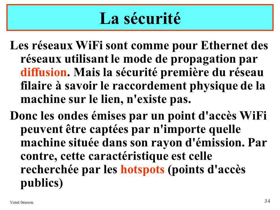 Yonel Grusson 34 Les réseaux WiFi sont comme pour Ethernet des réseaux utilisant le mode de propagation par diffusion. Mais la sécurité première du ré