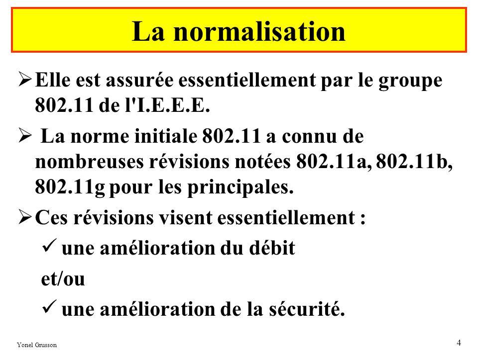 Yonel Grusson 4 La normalisation Elle est assurée essentiellement par le groupe 802.11 de l'I.E.E.E. La norme initiale 802.11 a connu de nombreuses ré