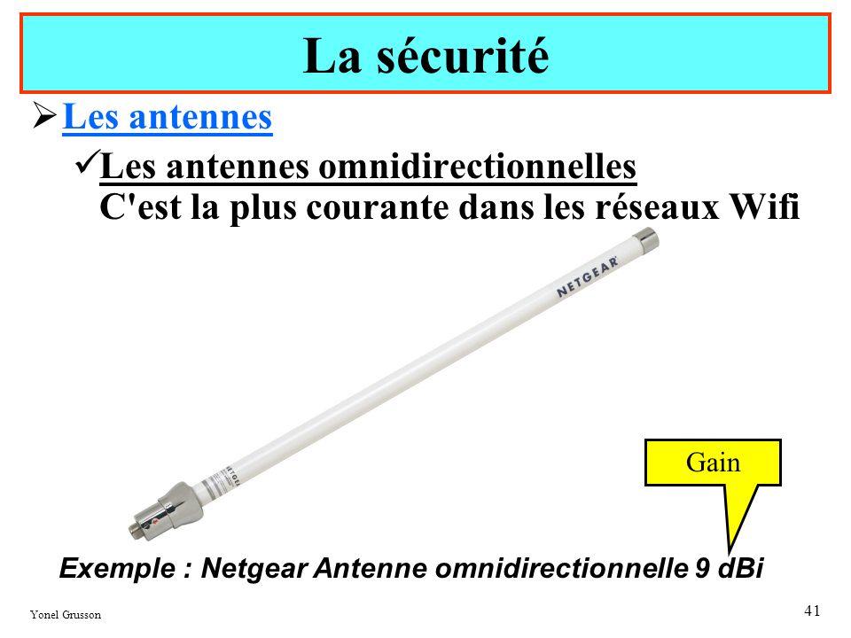 Yonel Grusson 41 Les antennes Les antennes omnidirectionnelles C'est la plus courante dans les réseaux Wifi La sécurité Exemple : Netgear Antenne omni