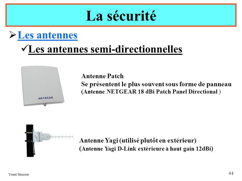 Yonel Grusson 44 Les antennes Les antennes semi-directionnelles La sécurité Antenne Patch Se présentent le plus souvent sous forme de panneau (Antenne