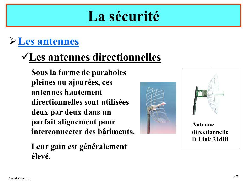 Yonel Grusson 47 Les antennes Les antennes directionnelles La sécurité Sous la forme de paraboles pleines ou ajourées, ces antennes hautement directio