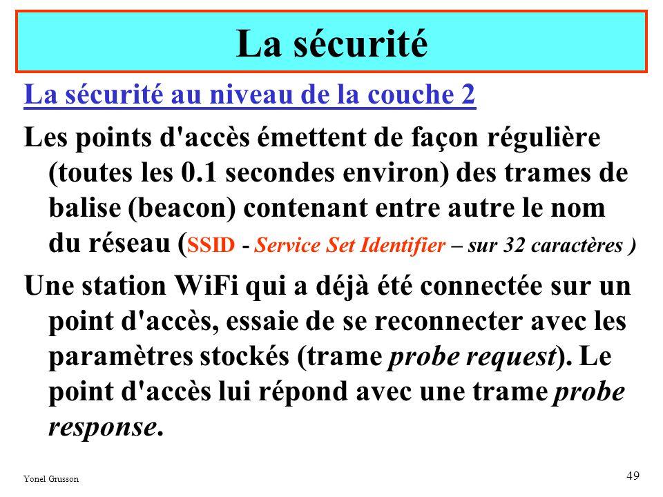 Yonel Grusson 49 La sécurité au niveau de la couche 2 Les points d'accès émettent de façon régulière (toutes les 0.1 secondes environ) des trames de b