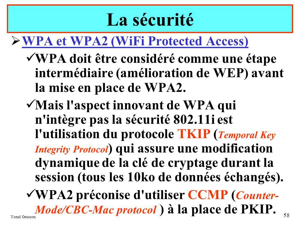 Yonel Grusson 58 WPA et WPA2 (WiFi Protected Access) WPA doit être considéré comme une étape intermédiaire (amélioration de WEP) avant la mise en plac