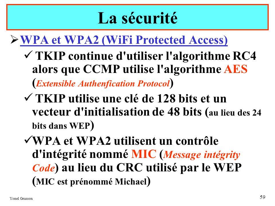 Yonel Grusson 59 WPA et WPA2 (WiFi Protected Access) TKIP continue d'utiliser l'algorithme RC4 alors que CCMP utilise l'algorithme AES ( Extensible Au