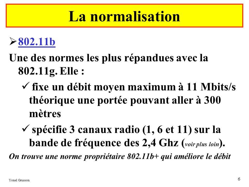 Yonel Grusson 6 802.11b Une des normes les plus répandues avec la 802.11g. Elle : fixe un débit moyen maximum à 11 Mbits/s théorique une portée pouvan