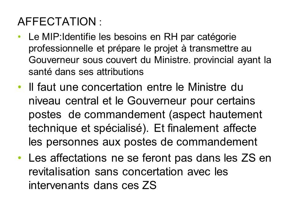 AFFECTATION : Le MIP:Identifie les besoins en RH par catégorie professionnelle et prépare le projet à transmettre au Gouverneur sous couvert du Minist