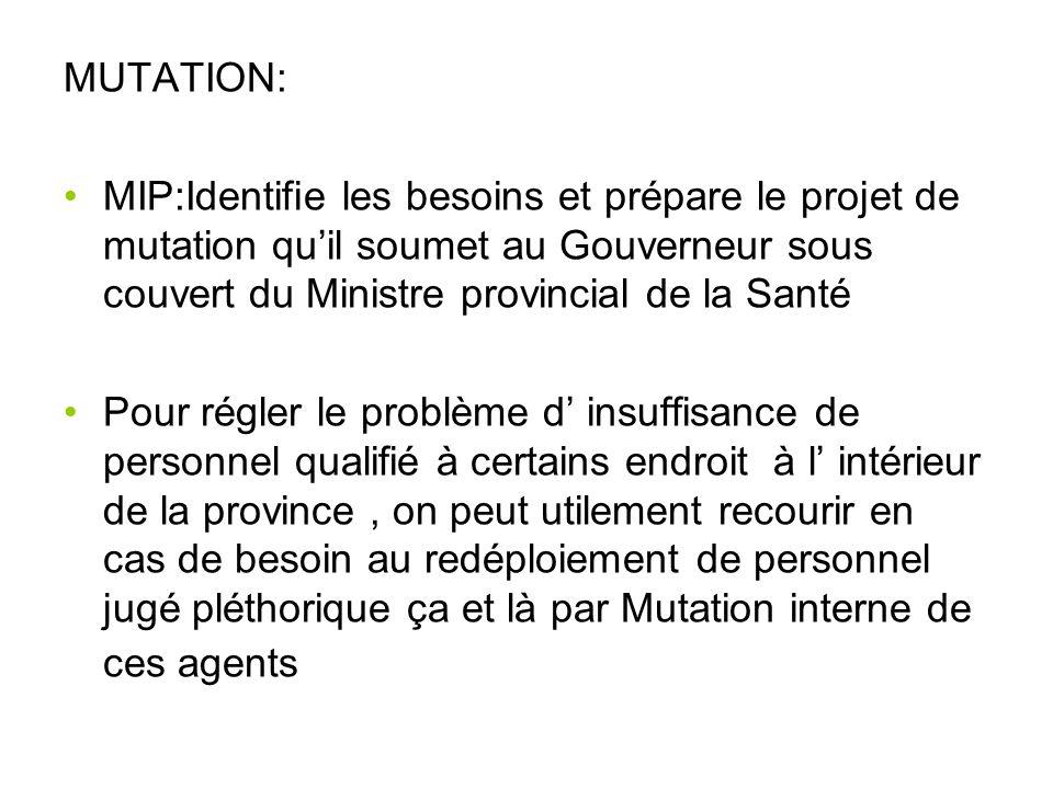 MUTATION: MIP:Identifie les besoins et prépare le projet de mutation quil soumet au Gouverneur sous couvert du Ministre provincial de la Santé Pour ré