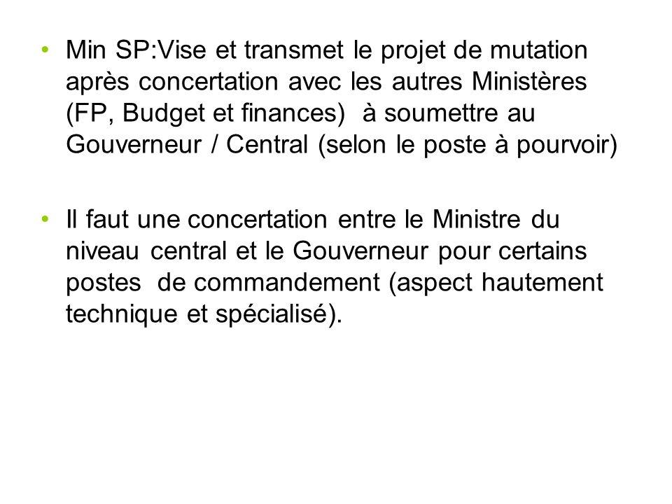 Min SP:Vise et transmet le projet de mutation après concertation avec les autres Ministères (FP, Budget et finances) à soumettre au Gouverneur / Centr