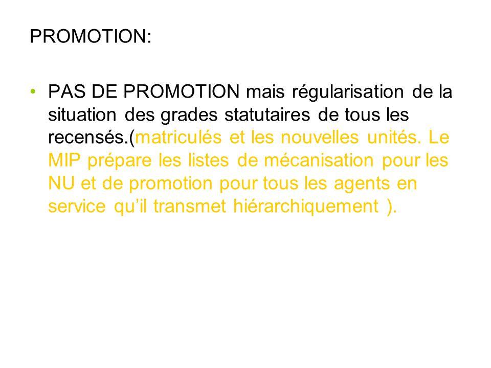 PROMOTION: PAS DE PROMOTION mais régularisation de la situation des grades statutaires de tous les recensés.(matriculés et les nouvelles unités. Le MI