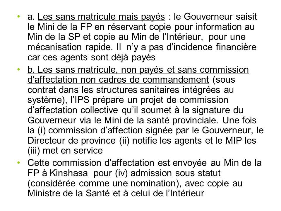 a. Les sans matricule mais payés : le Gouverneur saisit le Mini de la FP en réservant copie pour information au Min de la SP et copie au Min de lIntér