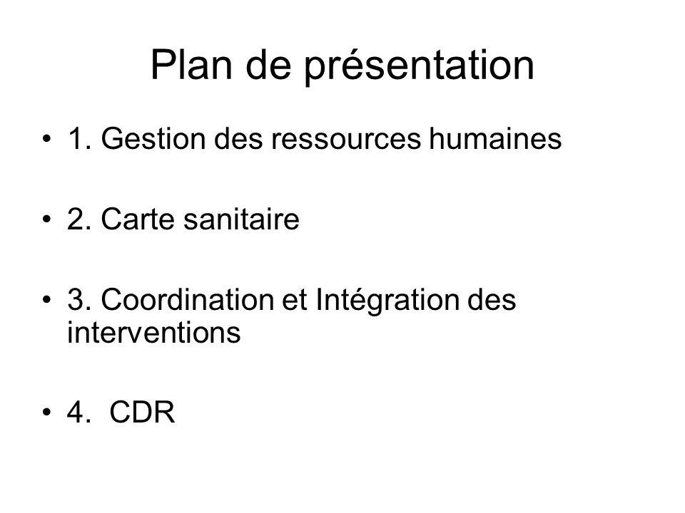 Plan de présentation 1. Gestion des ressources humaines 2. Carte sanitaire 3. Coordination et Intégration des interventions 4. CDR