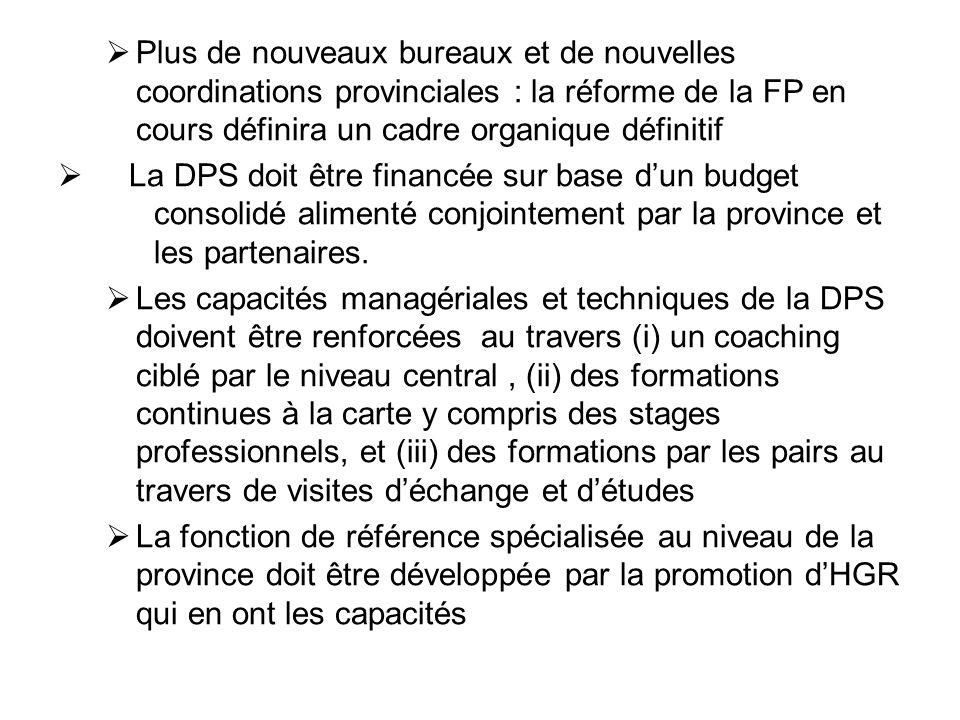 Plus de nouveaux bureaux et de nouvelles coordinations provinciales : la réforme de la FP en cours définira un cadre organique définitif La DPS doit ê