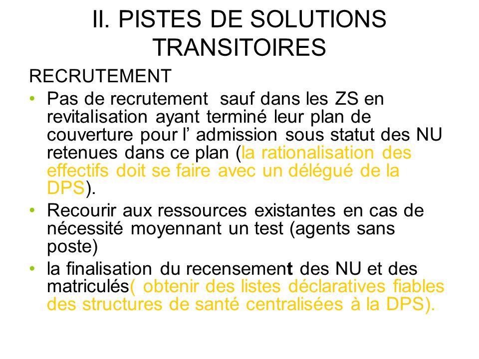 II. PISTES DE SOLUTIONS TRANSITOIRES RECRUTEMENT Pas de recrutement sauf dans les ZS en revitalisation ayant terminé leur plan de couverture pour l ad