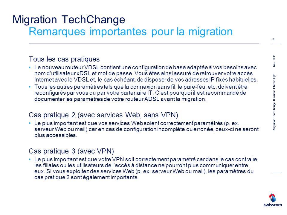 Nov. 2011 5 Migration TechChange Remarques importantes pour la migration Tous les cas pratiques Le nouveau routeur VDSL contient une configuration de