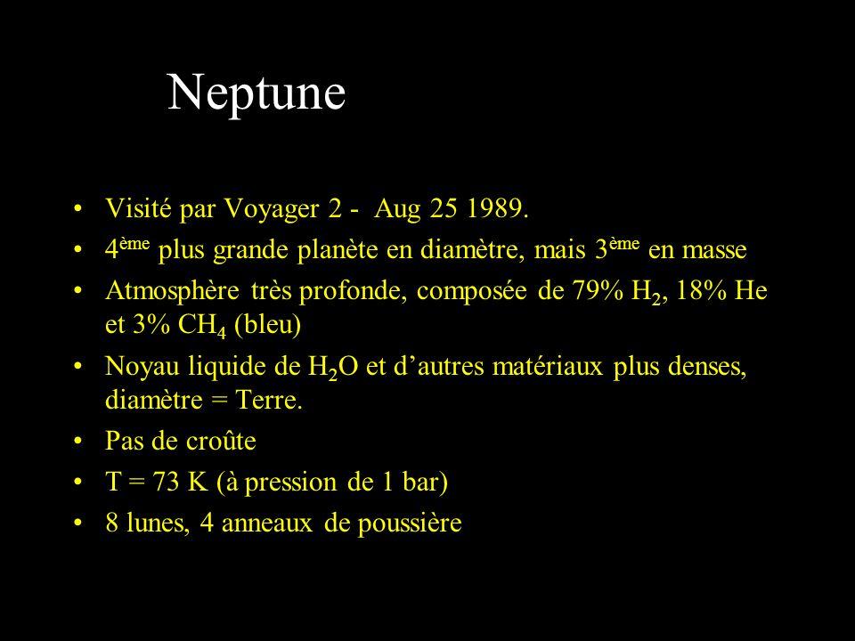 Neptune Visité par Voyager 2 - Aug 25 1989. 4 ème plus grande planète en diamètre, mais 3 ème en masse Atmosphère très profonde, composée de 79% H 2,