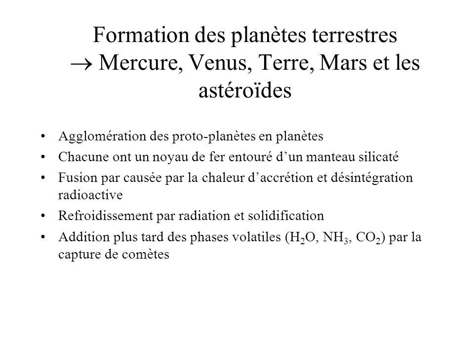 Formation des planètes terrestres Mercure, Venus, Terre, Mars et les astéroïdes Agglomération des proto-planètes en planètes Chacune ont un noyau de fer entouré dun manteau silicaté Fusion par causée par la chaleur daccrétion et désintégration radioactive Refroidissement par radiation et solidification Addition plus tard des phases volatiles (H 2 O, NH 3, CO 2 ) par la capture de comètes