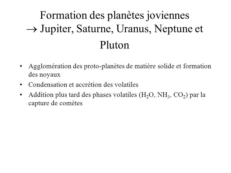 Formation des planètes joviennes Jupiter, Saturne, Uranus, Neptune et Pluton Agglomération des proto-planètes de matière solide et formation des noyaux Condensation et accrétion des volatiles Addition plus tard des phases volatiles (H 2 O, NH 3, CO 2 ) par la capture de comètes
