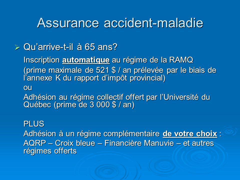 Assurance accident-maladie Quarrive-t-il à 65 ans.