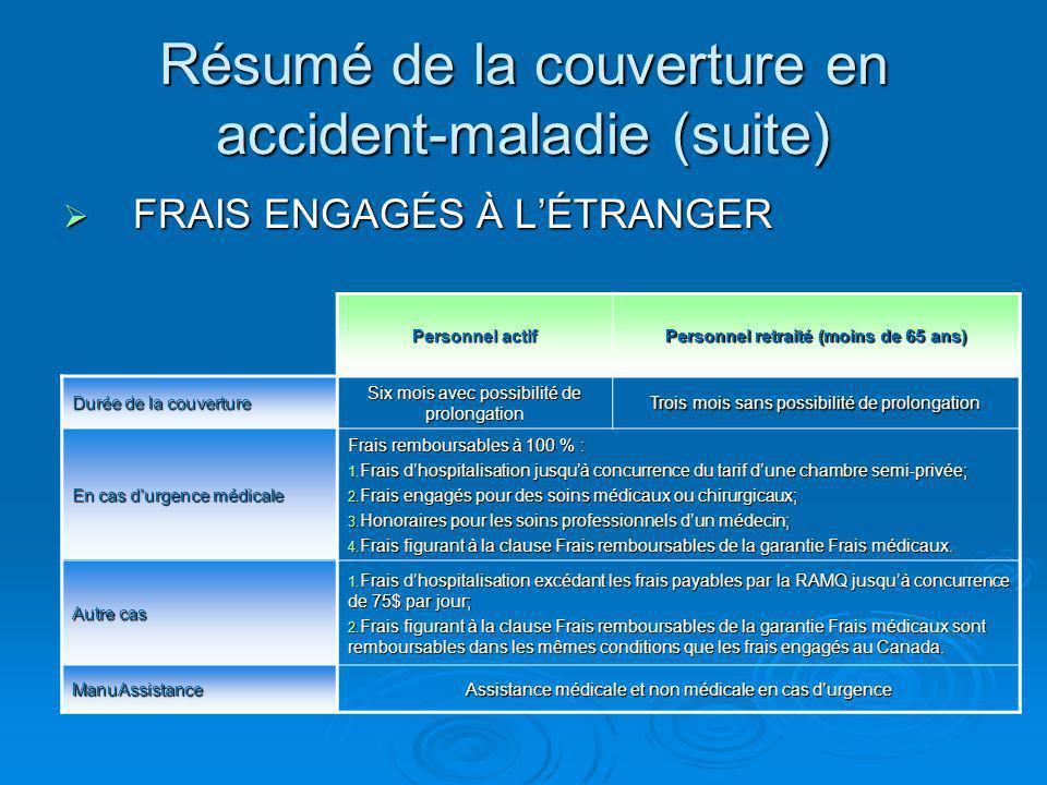 Cessation à la retraite Assurance mutilation accidentelle Assurance mutilation accidentelle Assurance invalidité Assurance invalidité Assurance vie facultative Assurance vie facultative (droit de transformation)