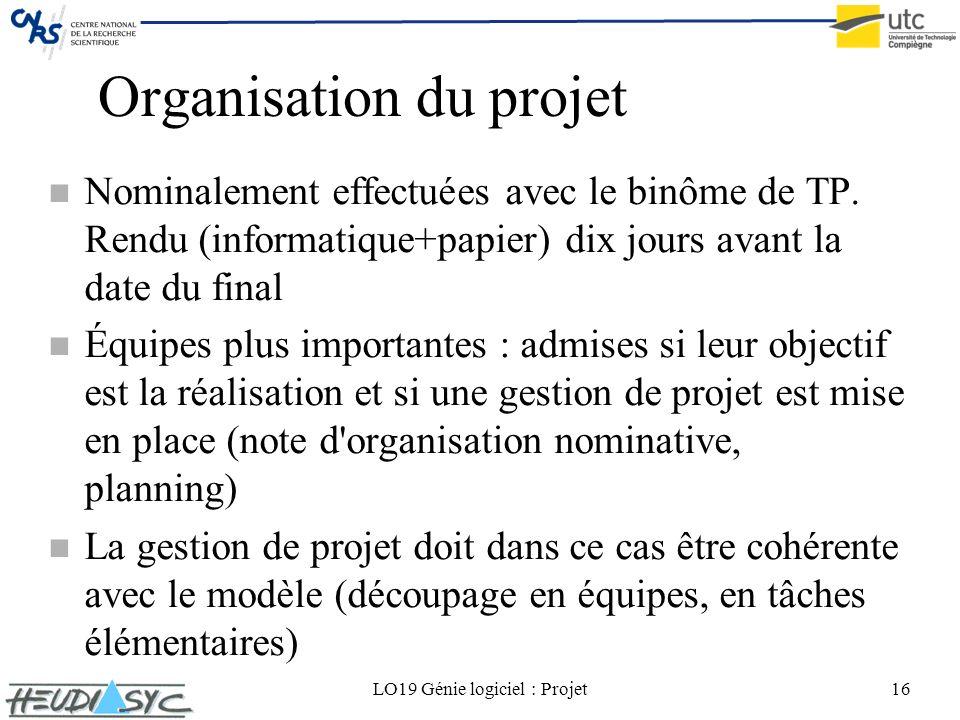 LO19 Génie logiciel : Projet16 Organisation du projet n Nominalement effectuées avec le binôme de TP. Rendu (informatique+papier) dix jours avant la d