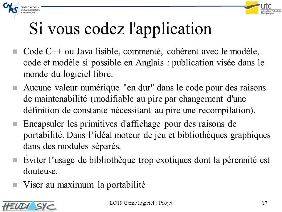 LO19 Génie logiciel : Projet17 Si vous codez l'application n Code C++ ou Java lisible, commenté, cohérent avec le modèle, code et modèle si possible e