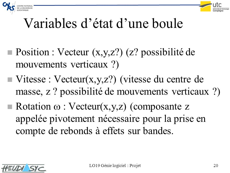 LO19 Génie logiciel : Projet20 Variables détat dune boule n Position : Vecteur (x,y,z?) (z? possibilité de mouvements verticaux ?) n Vitesse : Vecteur