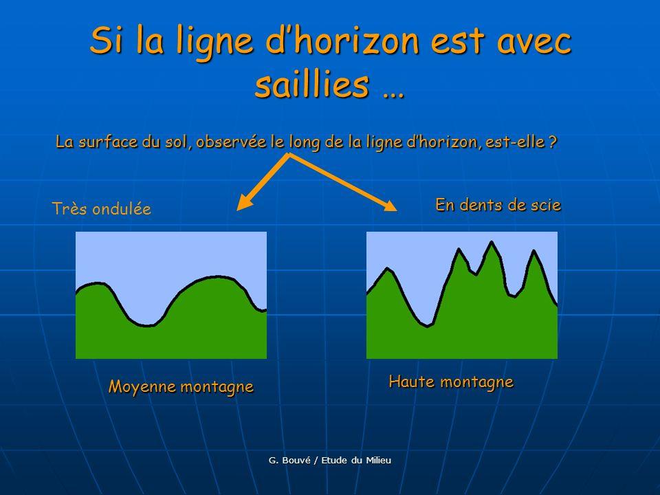 G. Bouvé / Etude du Milieu La surface du sol, observée le long de la ligne dhorizon, est-elle? Exemples dans la réalité : Sans saillie Avec saillies P