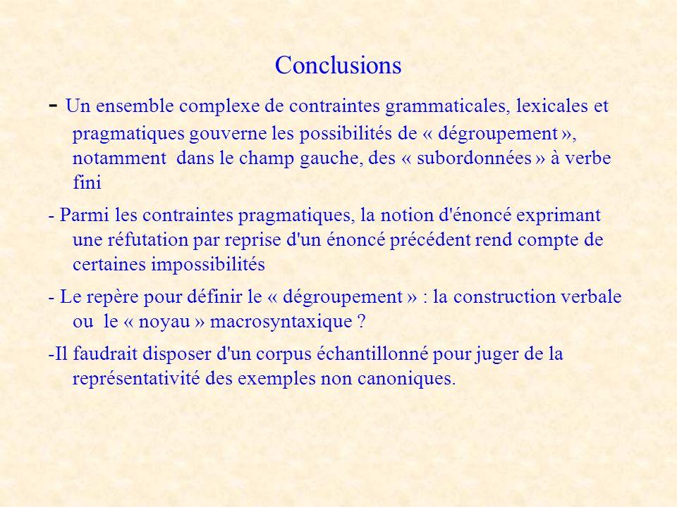 Conclusions - Un ensemble complexe de contraintes grammaticales, lexicales et pragmatiques gouverne les possibilités de « dégroupement », notamment da
