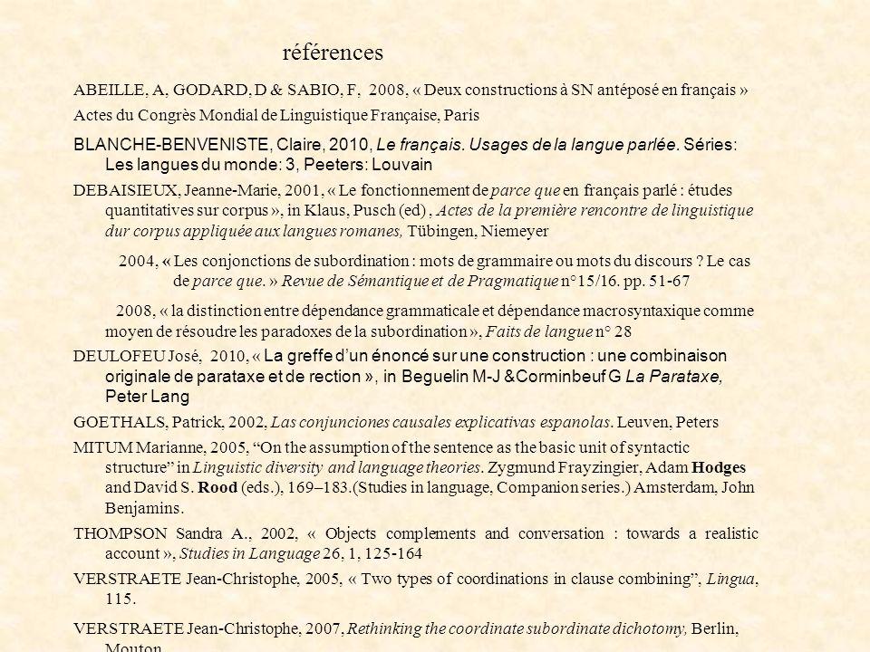 références ABEILLE, A, GODARD, D & SABIO, F, 2008, « Deux constructions à SN antéposé en français » Actes du Congrès Mondial de Linguistique Française