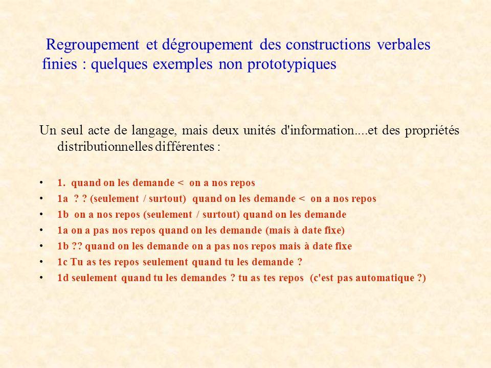 Regroupement et dégroupement des constructions verbales finies : quelques exemples non prototypiques Deux actes de langage et deux unités prosodiques qui se succèdent dans le discours : 1.