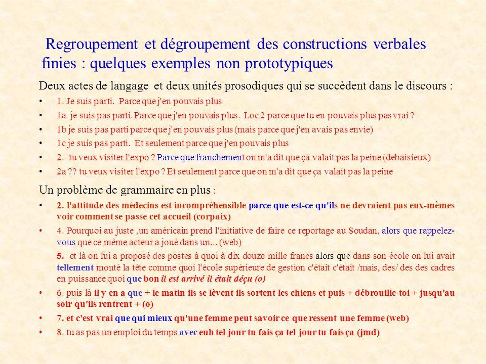 Regroupement et dégroupement des constructions verbales finies : quelques exemples non prototypiques Deux actes de langage et deux unités prosodiques