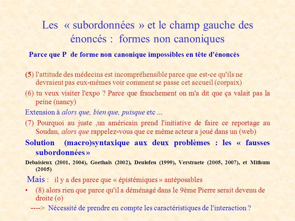 Solution syntaxique : rattachement grammatical et rattachement discursifs des « marqueurs » morphologiques A.