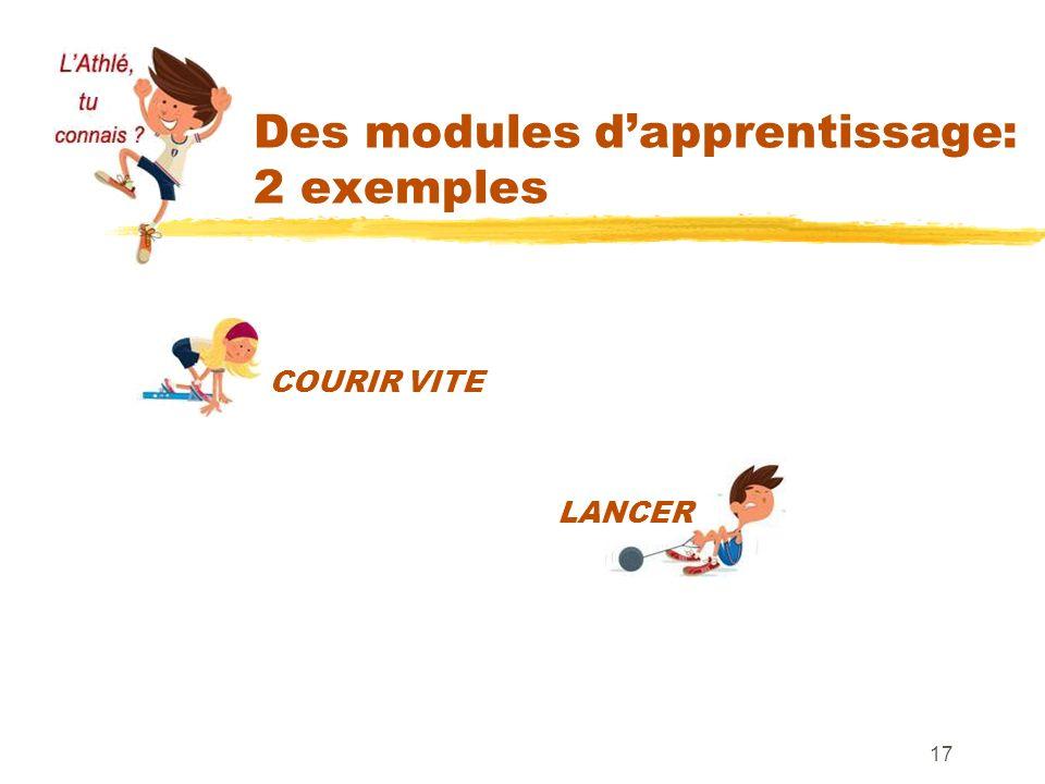 Des modules dapprentissage: 2 exemples 17 COURIR VITE LANCER