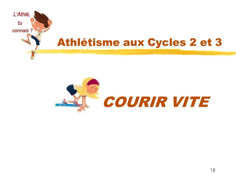 Athlétisme aux Cycles 2 et 3 18 COURIR VITE