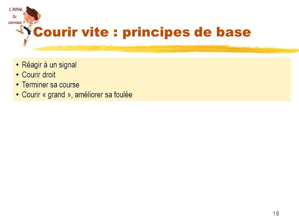 Courir vite : principes de base 19 Réagir à un signal Courir droit Terminer sa course Courir « grand », améliorer sa foulée