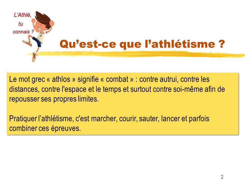 Quest-ce que lathlétisme ? 2 Le mot grec « athlos » signifie « combat » : contre autrui, contre les distances, contre l'espace et le temps et surtout