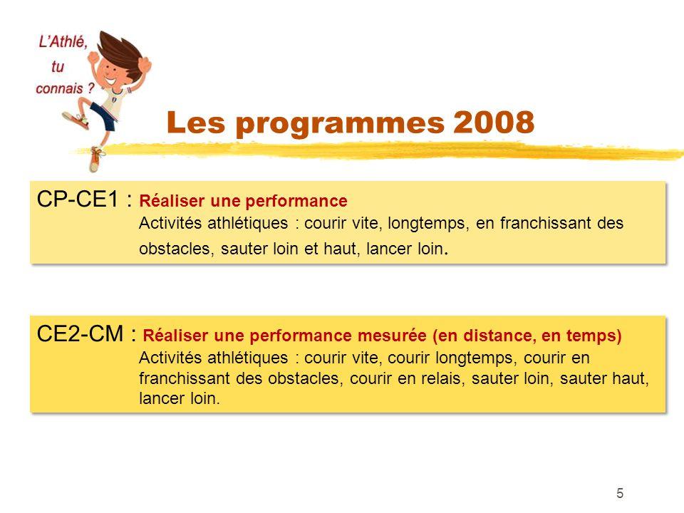 Les programmes 2008 5 CP-CE1 : Réaliser une performance Activités athlétiques : courir vite, longtemps, en franchissant des obstacles, sauter loin et