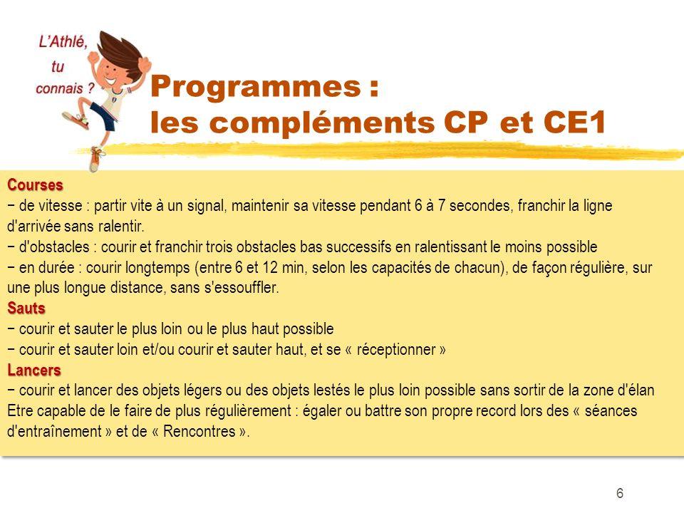 Programmes : les compléments CP et CE1 6 Courses de vitesse : partir vite à un signal, maintenir sa vitesse pendant 6 à 7 secondes, franchir la ligne