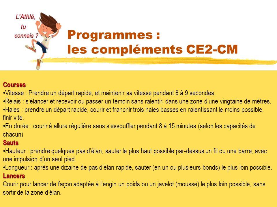 Programmes : les compléments CE2-CM 7 Courses Vitesse : Prendre un départ rapide, et maintenir sa vitesse pendant 8 à 9 secondes. Relais : sélancer et
