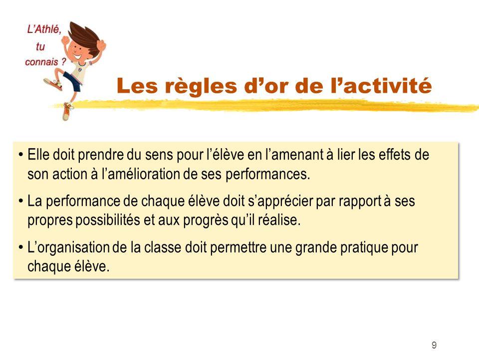 Les règles dor de lactivité 9 Elle doit prendre du sens pour lélève en lamenant à lier les effets de son action à lamélioration de ses performances. L