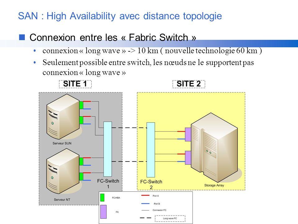 SAN : High Availability avec distance topologie nConnexion entre les « Fabric Switch » connexion « long wave » -> 10 km ( nouvelle technologie 60 km )