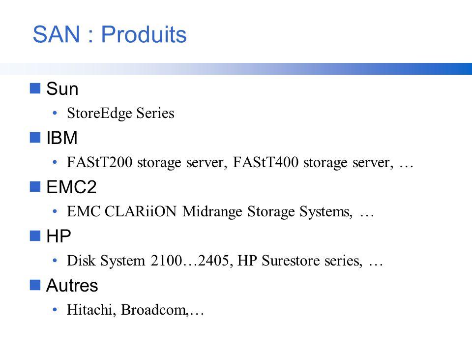 SAN : Produits nSun StoreEdge Series nIBM FAStT200 storage server, FAStT400 storage server, … nEMC2 EMC CLARiiON Midrange Storage Systems, … nHP Disk
