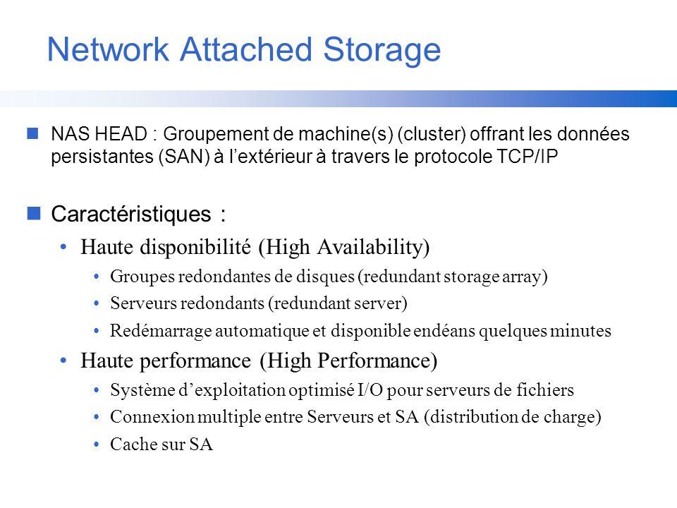 nNAS HEAD : Groupement de machine(s) (cluster) offrant les données persistantes (SAN) à lextérieur à travers le protocole TCP/IP nCaractéristiques : H