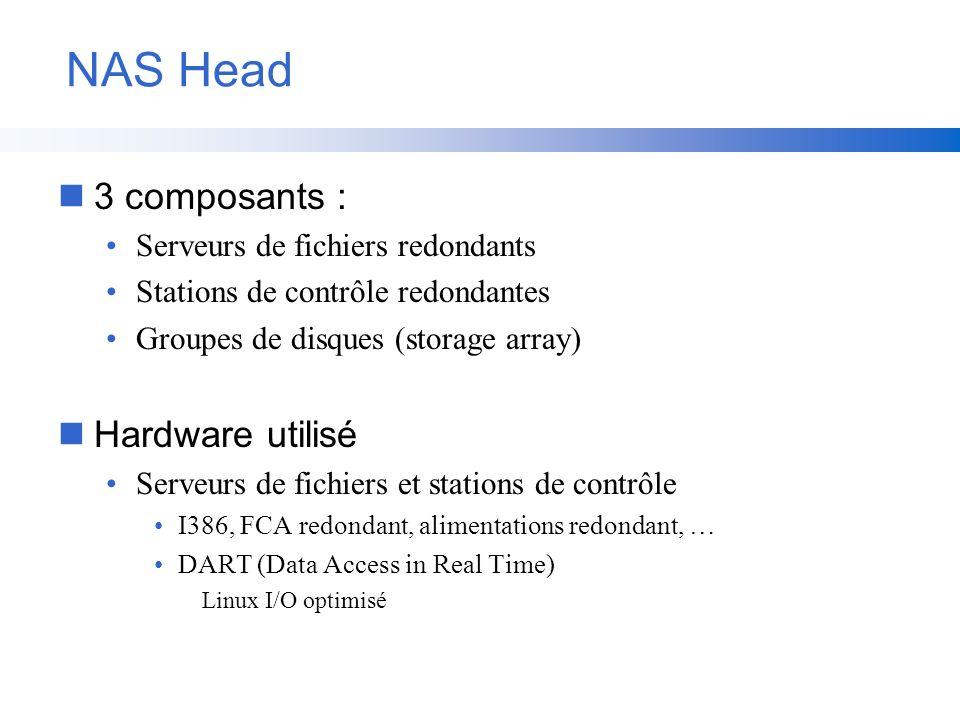 NAS Head n3 composants : Serveurs de fichiers redondants Stations de contrôle redondantes Groupes de disques (storage array) nHardware utilisé Serveur